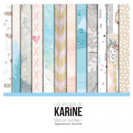 Set de papier 30x30 Douceur Hivernale 6f - Les ateliers de Karine