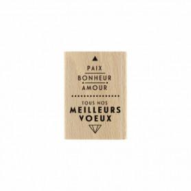Tampon bois Paix et amour - Modern Christmas - Florilèges Design