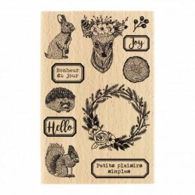 Tampon bois Animaux des bois - Gypsy Forest - Florilèges Design