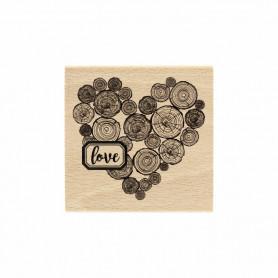Tampon bois Coeur en rondins - Gypsy Forest - Florilèges Design