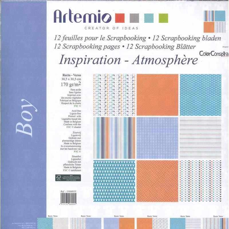 Set de papier 30x30 Boy Inspiration Atmosphère 12f – Artemio