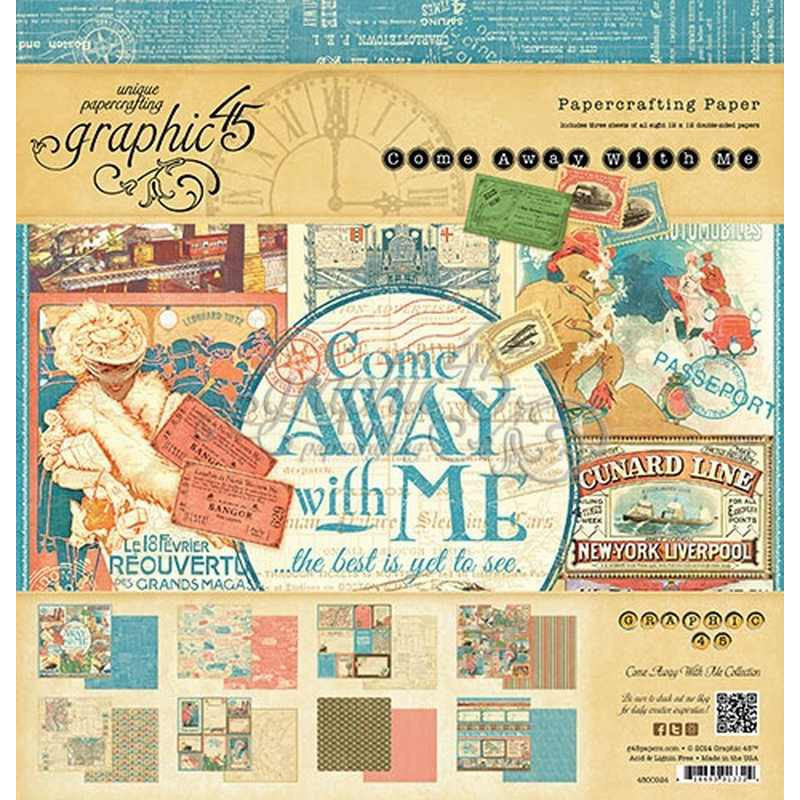Come Away With Me 12x12 Inch Paper Pad 4500924 – Graphic 45