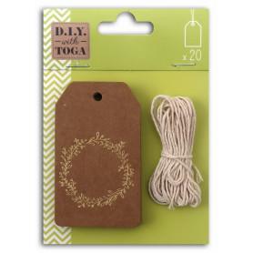 20 tags kraft/doré mat avec ficelle - Toga