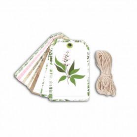 Set 20 tags imprimés herbes avec ficelle - Toga