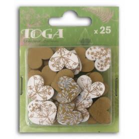 Confettis bois cœurs dorés/blancs 25 pc - Toga