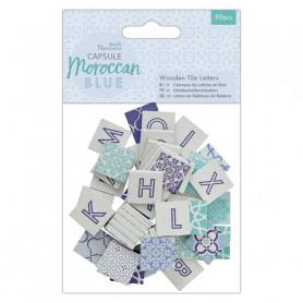 Carreaux en bois Lettres Moroccan Blue 50pcs - Capsule Collection – Docrafts Papermania