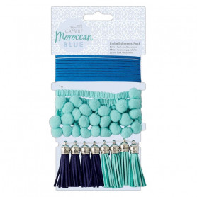Set d'embellissements Moroccan Blue 10 pcs - Capsule Collection – Docrafts Papermania