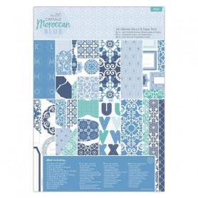 Set de papier et Die-cut A4 Moroccan Blue 48f - Capsule Docrafts Papermania