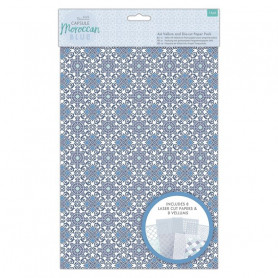 Set de papier Vellum et papier découpé au laser A4 Moroccan Blue 16f - Capsule Docrafts Papermania