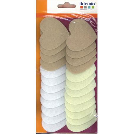 Coeur en Feutrine blanc crème beige 24 pièces – Artemio