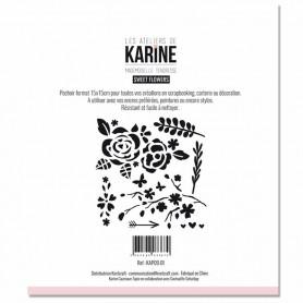Pochoir Sweet Flowers - Mademoiselle Tendresse - Les ateliers de Karine