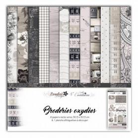 Set de papier 30x30 Broderies oxydées 6f et 1 planche d'étiquette - Lorelaï Design