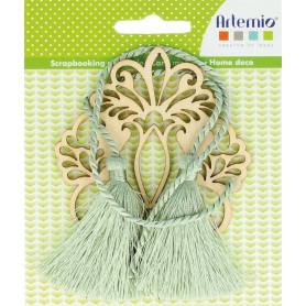 Médaillon fleur en bois Secret Garden avec Pampille - Artemio