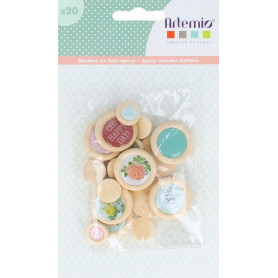 Embellissements en bois et epoxy Secret Garden 20 pcs - Artemio