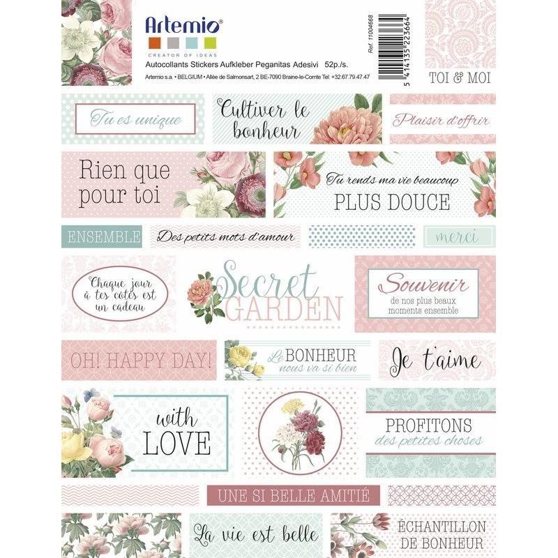 Stickers Textes Secret Garden - Artemio