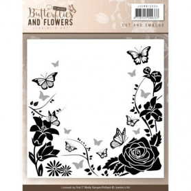 Classeur de gaufrage et découpe 124x124mm Butterflies and Flowers - Jeanine's Art Cut and Emboss