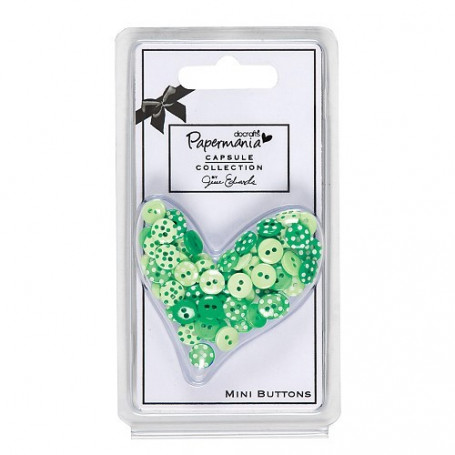 Assortiment de boutons Capsule Polka 60 pc Chelsea Green - Docrafts Papermania Mini Buttons