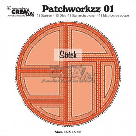 Patchworkzz dies no. 1 Stitched patchwork in circle - Crealies