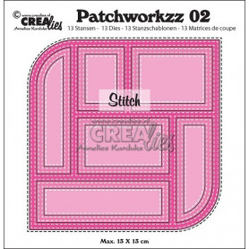Patchworkzz dies no. 2 Stitched patchwork in square with 2 rounded corners - Crealies