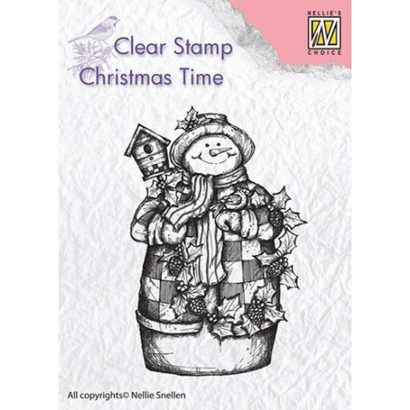 Tampon Snowman with birdhouse - Christmas Time - Nellie Snellen Clear Stamp