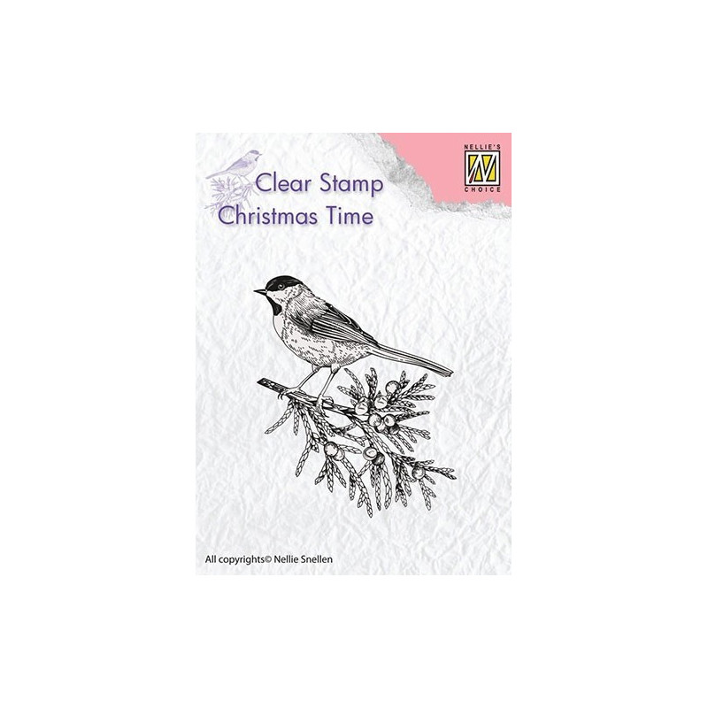 Tampon Conifer branch with bird - Christmas Time - Nellie Snellen Clear Stamp