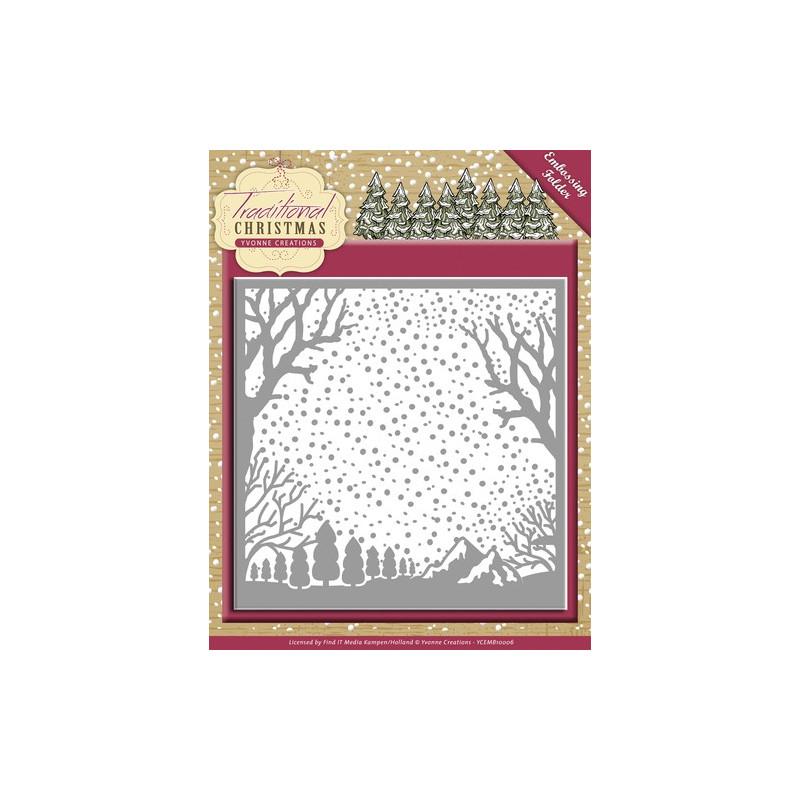 Classeur de gaufrage 124x124mm Traditional Christmas - Yvonne Creations Embossing folder