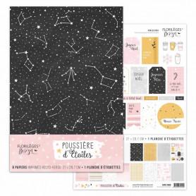 Set de papier A4 Poussière d'étoiles 8f - Florilèges Design