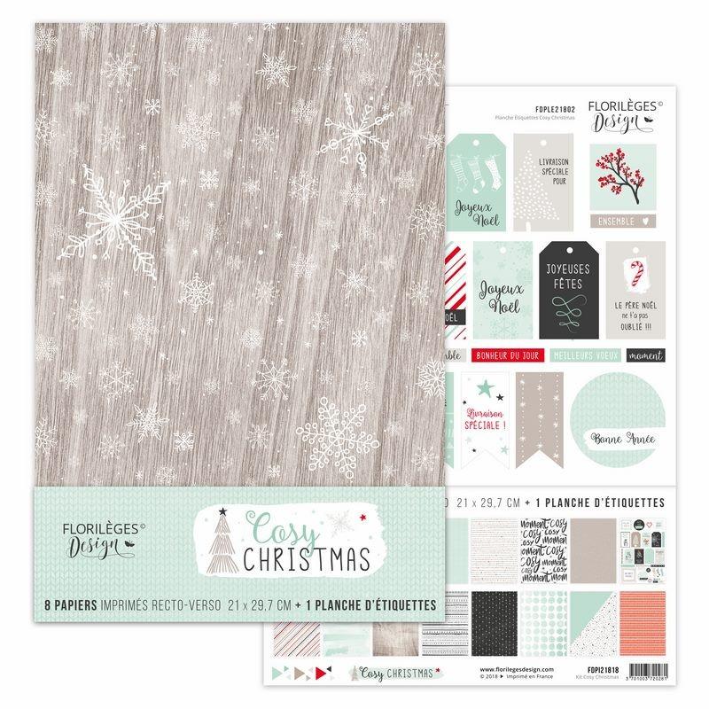Set de papier A4 Cosy Christmas 8f - Florilèges Design