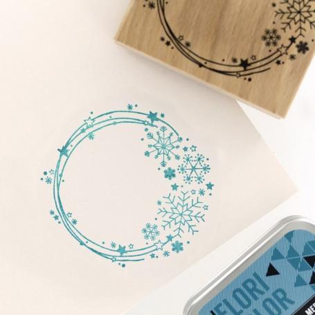 Tampon bois Couronne de Neige - Cosy Christmas - Florilèges Design