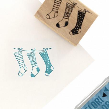 Tampon bois Chaussettes de Noël - Cosy Christmas - Florilèges Design