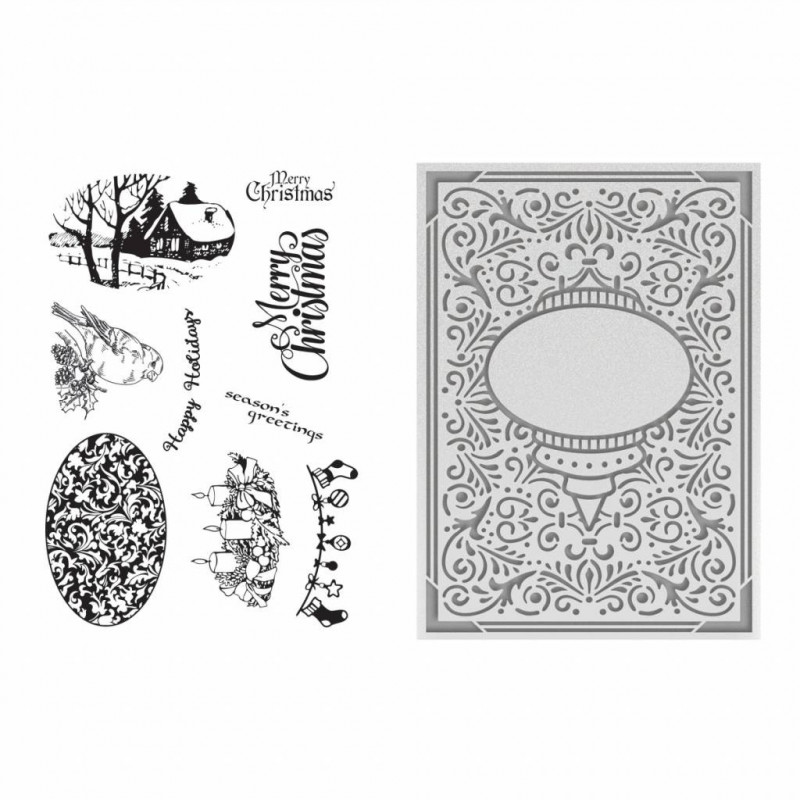 Set de tampons et classeur d'embossage Ornate Christmas – Couture creations clear stamp and embossing folder
