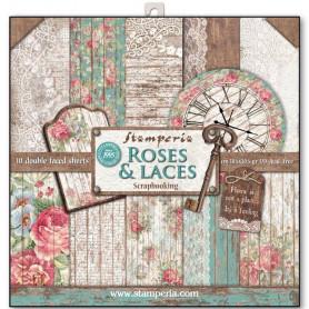 Set de papier 30x30 Roses & Laces 10 feuilles - Stamperia