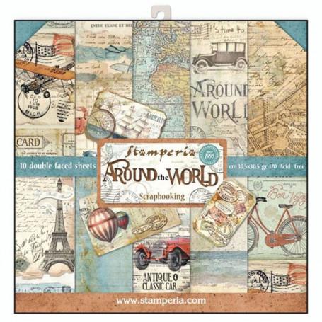 Set de papier 30x30 Around the world 10 feuilles - Stamperia