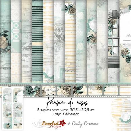 Set de papier 30x30 Parfum de roses 6f et 1 planche de tags - Lorelaï Design