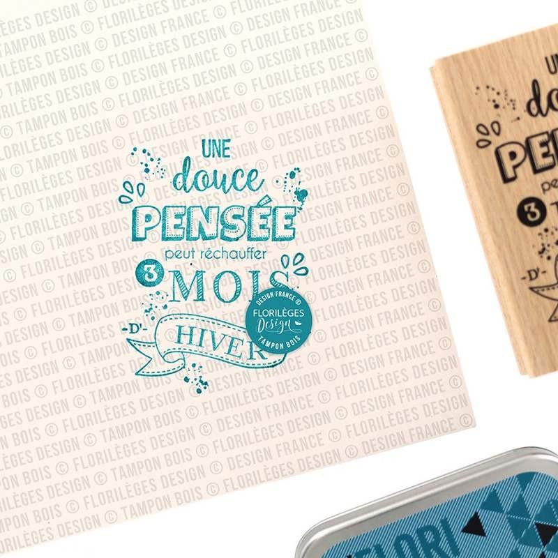 Tampon bois Douce pensée - Les joies de l'hiver - Florilèges Design