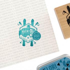 Tampon bois Plaisir de la glisse - Les joies de l'hiver - Florilèges Design