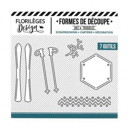 Dies Skis et bâtons 7pc - Les joies de l'hiver - Florilèges Design