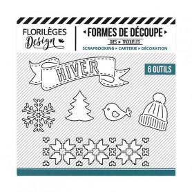 Dies Hiver blanc 6 pc - Les joies de l'hiver - Florilèges Design