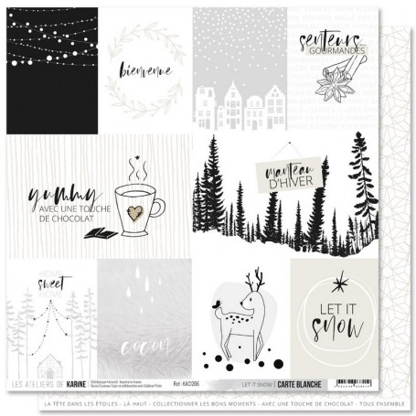 Papier 30x30 Let it snow 1f - Carte Blanche - Les ateliers de Karine