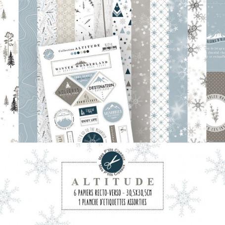 Set de papier 30x30 Altitude 6f et 1 planche de tags - Mes Ptits Ciseaux