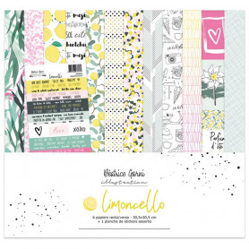 Set de papier 30x30 Limoncello 6f et 1 planche de stickers - Béatrice Garni illustration
