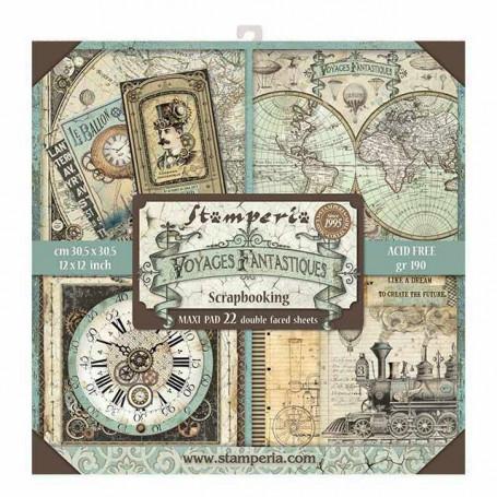 Set de papier 30x30 Voyages fantastiques 22 feuilles - Stamperia