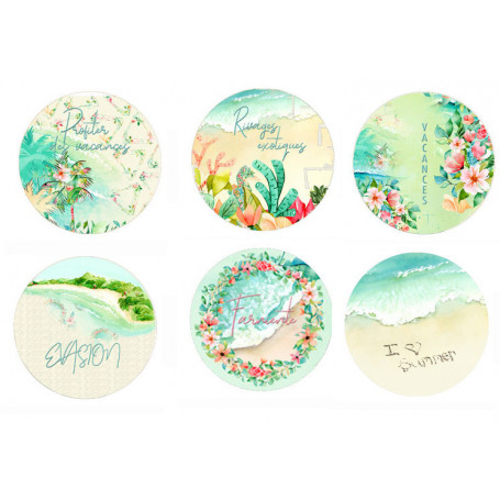 Lot de 6 badges Rivages Exotiques - Lorelaï Design