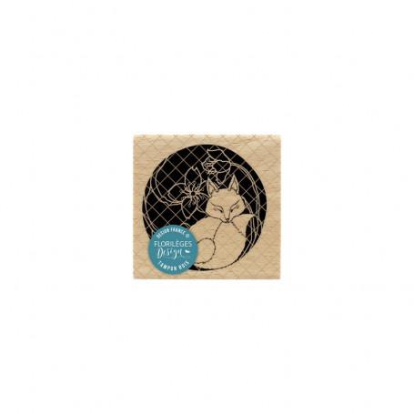 Tampon bois Kitsune - Sakura - Florilèges Design