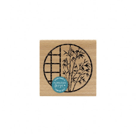 Tampon bois Fenêtre au bambou - Sakura - Florilèges Design