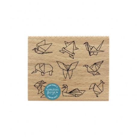 Tampon bois Petits origamis - Sakura - Florilèges Design