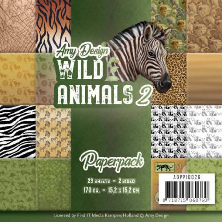 Set de papier 15x15 Wild Animals 2 23f – Amy Design