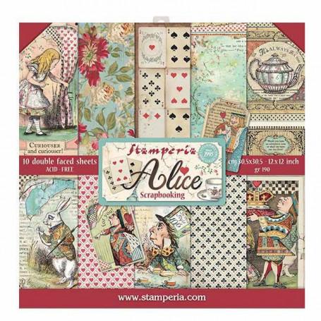 Set de papier 30x30 Alice 10 feuilles - Stamperia