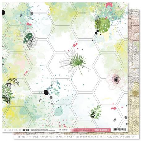 Papier 30x30 H comme Hexagones 1f - Collection Long Courrier - Les ateliers de Karine