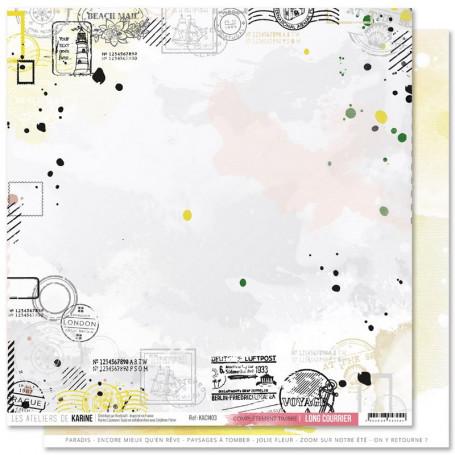 Papier 30x30 Complètement timbré 1f - Collection Long Courrier - Les ateliers de Karine